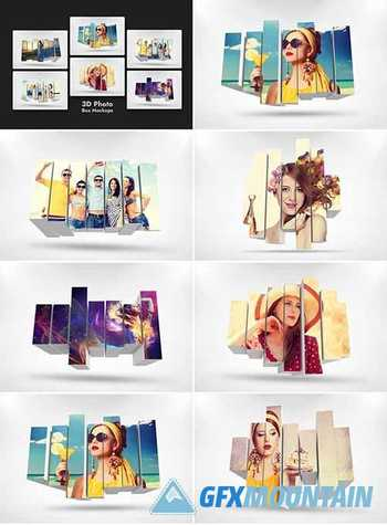 3D Photo Box Mockups Template V-8