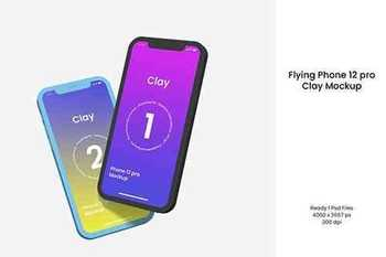 Flying Phone 12 Pro Clay Mockup