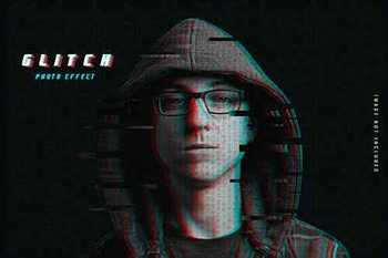 Glitch photo effect template