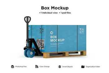 Hand pallet truck paper box mockup