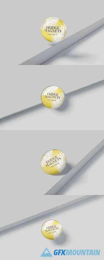 Round Fridge Magnets Mockups