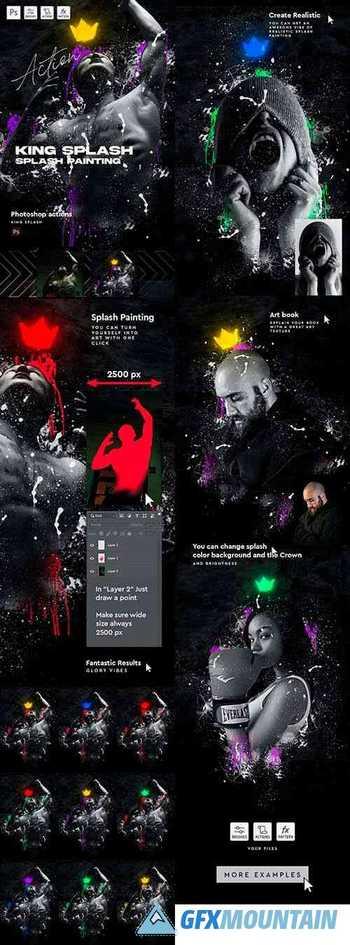 King Splash Painting Photoshop Action 30455842